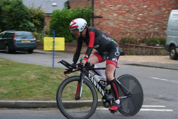 Katja on the finishing circuit of the CC Breckland 12-hour TT